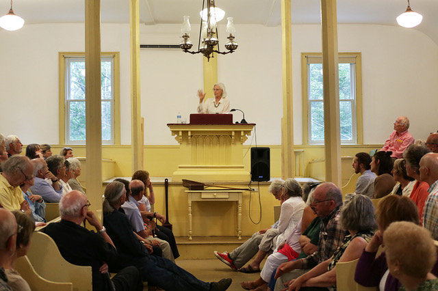 Jane Alexander reading at the Old Meeting House (photo by LP Farrell)